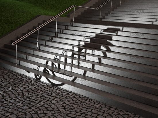 empty wheelchair casting a shadow on stairs