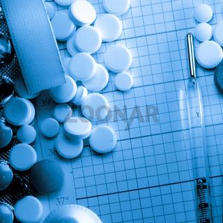 medical bottle and syringe