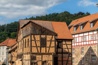 Historic half-timbered houses  in the city of Wasungen, Thuringia