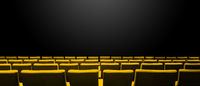 Cinema movie theatre with yellow seats rows and a black background. Horizontal banner