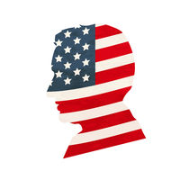 Black detailed realistic mans face profile with USA flag on white