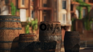 old wooden wine barrels in a sea town port