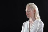 Close up portrait of caucasian albino blonde woman
