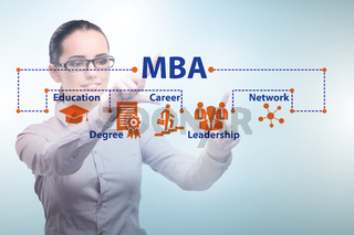 Businesswoman in Master of business administration concept