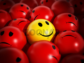 Yellow smiling face stands out against red spheres