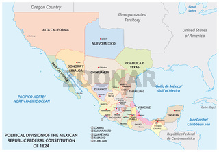 political division of the mexican republic federal constitution of 1824