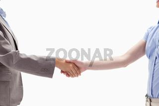 Handshake between two women