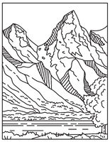 Jackson Hole or Jackson's Hole with the Teton Range in the Background Located in Wyoming United States Mono Line or Monoline Black and White Line Art