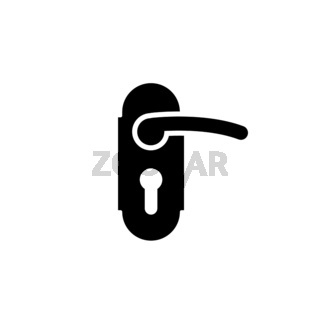 Doorknob with keyhole simple black icon for hotel on white