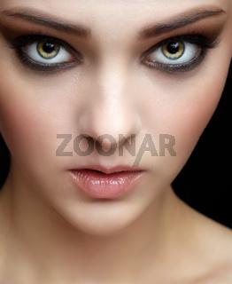 Closeup shot of human female face.