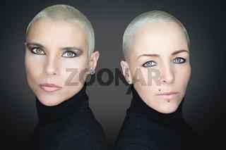 beautiful women with short hair wearing black turtleneck