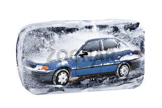 Car in the block of ice