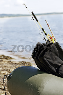 Fishing gear in an inflatable boat after fishing.