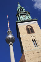 Berlin TV Tower and St. Mary Church, Berlin, Germany