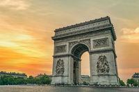 Paris France city skyline sunrise at Arc de Triomphe and Champs Elysees empty nobody