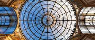 Architecture in Milan fashion Gallery, Italy. Dome roof architectural detail.