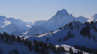 Saanerslochflue and other snow covered mountains near Gstaad.