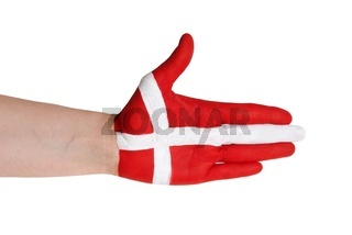 a handshake gesture in the colors of denmark
