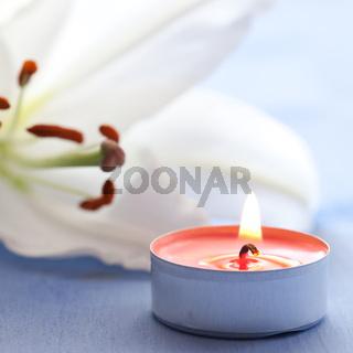 Kerze und Lilie