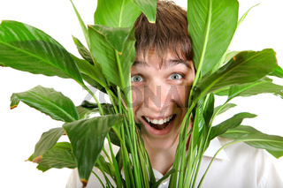 Surprised Young Man in Leaves