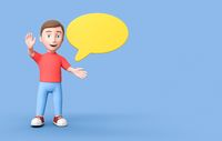 Young Kid 3D Cartoon Character with Blank Speech Bubble on Blue with Copy Space
