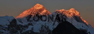 Golden Mount Everest and Nuptse