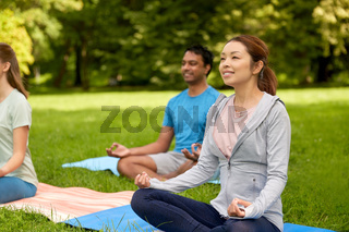 group of people doing yoga at summer park
