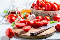 Halves of ripe tomatoes.