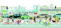 Stadtlandschaft mit Straßenverkehr und Fußgänger, Illustration