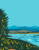 Loch Morlich Within Cairngorms National Park in Badenoch and Strathspey Area of Highland Scotland UK Art Deco WPA Poster Art