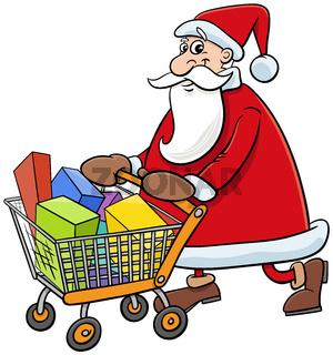 cartoon Santa Claus character shopping on Christmas time