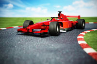 Generic racing car on the race track. 3D illustration