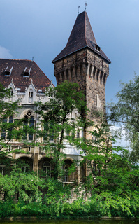 Vajdahunyad Castle gothic tower in Budapest