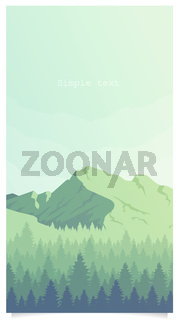 Mountain and woodland landscape flat color vector background with text space