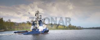 Large tugboat on the Kiel Canal