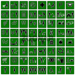 Vector icons on stickers set.