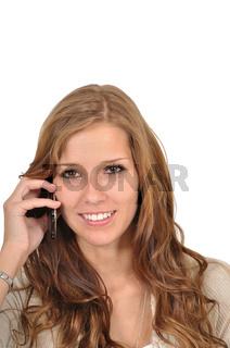 Studentin macht Termine per Telefon