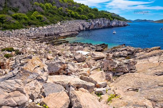 Telascica nature park on Dugi Otok island stone beach view