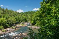 River flows in Audra State Park near Buckhannon in West Virginia