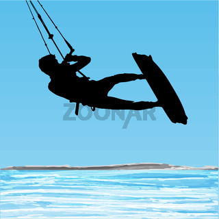 Kiteboarder aerial jump silhouette