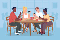 Students on mobile phones flat color vector illustration