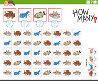 how many cartoon animal characters counting task