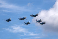 Moscow Russia Zhukovsky Airfield 31 August 2019: The Russian Knights Russkie Vityazi aerobatic team performs a demonstration flight with aerobatics figures of the international aerospace salon MAKS-2019