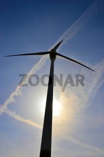 Nahaufnahme einer Windkraftanlage