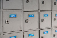 p. o. box, mail box or p o boxes  with numbres closeup
