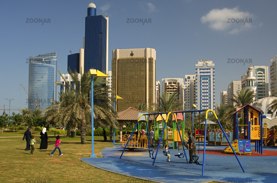 Playground in front of the skyline of Abu Dhabi