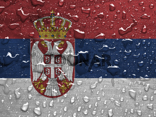 flag of Serbia with rain drops