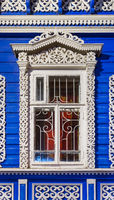 Window of old russian wooden house
