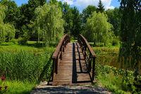 A beautiful wooden walkway across the lake.