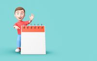 Young Kid 3D Cartoon Character Pointing a Blank Calendar on Blue with Copy Space
